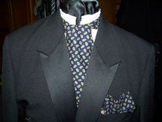 Mens Ascot tie with pocket square Navy Green and by civilwarlady