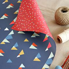Double sided gift wrap | Nordic triangles wrapping paper | Confetti dots wrapping paper
