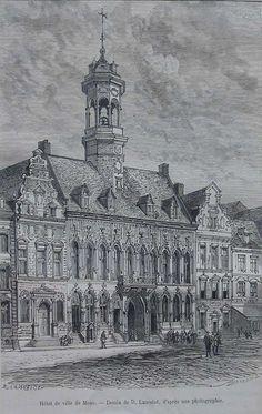 Hôtel de ville de Mons, 1884 environ, dessin de D. Lancelot