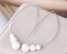 Pearl Silver Hoop Earrings, Hook Earrings