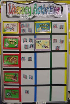 Literacy Center rotation idea. I like that the teacher used pictures instead of the children's names listed so that they can find there way to the next center if need be.