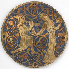 Medallion with Youth Playing Pipe for Dancing Woman with Castanets  Date: ca. 1240–60 Geography: Made in Limoges, France Culture: French Medium: Copper: engraved and gilt; champlevé enamel: medium and light blue and white Dimensions: Overall: 3 9/16 x 1/16 in. (9 x 0.2 cm)