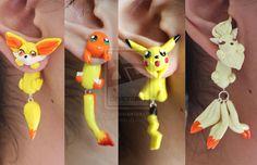 Pokemon Earrings by ArtzieRush.deviantart.com on @deviantART