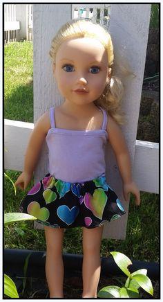 Rainbow Heart Skirt for 18 Doll AG Doll Doll Clothes