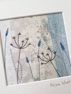 Original textile art cow parsley and grasses Embroidery Cards, Hand Embroidery Flowers, Free Motion Embroidery, Embroidery Applique, Embroidery Stitches, Fabric Cards, Fabric Postcards, Freehand Machine Embroidery, Free Machine Embroidery