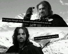 Boromir and Aragorn. I love this.