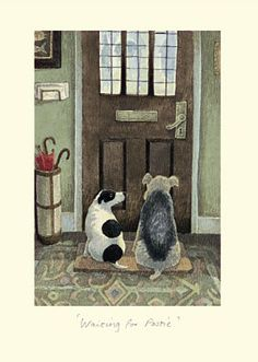 Waiting for Postie Card by Alison Friend - Two Bad Mice Art And Illustration, Illustrations, Animal Drawings, Cute Drawings, Wire Fox Terrier, Dog Paintings, Dog Art, Cute Art, Dog Love