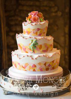 Gaudi mosaic wedding cake with a Gaudi lizard