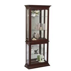 A striking piece in its own right, this curio cabinet is a beautiful place to showcase your treasured items. Perfect for classic, formal and traditional interiors, it has a dark cherry finish and detailed moldings, including an acanthus leaf design on top corners. Generously sized to accommodate larger objects. Useful features include a lighted interior, mirrored back and three adjustable glass shelves. Access the interior from the right side.