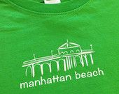Manhattan Beach Pier California State Design Available in Onesie Bodysuits, Infant & Toddler T-shirts!