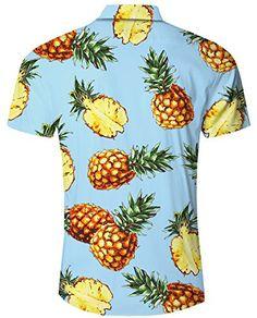 ACEBABY Camisa Hawaiana Hombre Manga Corta Estampada Aguacate de Hawaii Playa Ropa Hombre Verano Fiesta de Bodas Cumplea/ños