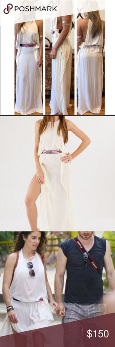 Indah Twiga Open sided Maxi Dress Ivory XS NWT This is Brand new and never been worn!  As seen on Nikki Reed - it can be worn as a dress or as a cute cover up! Has the pink friendship belt like in the pictures Indah Dresses Maxi
