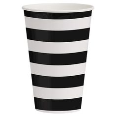Suit up your table setting for the special occasion with the Black Pattern Cups. These bold party cups can hold 12 oz. of your favorite party beverage and feature a black and white striped design that wraps around the entire cup. Sold in packs of 10, this set of paper cups coordinates with other solid black and white colored tableware items and party supplies.