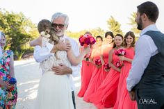 bride and groom, bridal party, father of the bride, beach wedding
