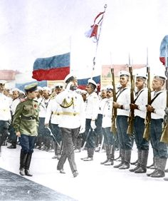 Nikolay II and Alexey review the sailors troops, ca 1910
