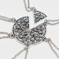 6pcs Pizza Pendant Necklaces Friendship Necklace