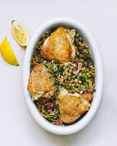 Pearl barley replaces rice in this not-so-traditional risotto recipe. This baked version uses chicken thighs, bacon and leeks to create a flavoursome dinner for two.