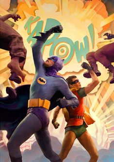 The Caped Crusaders unleash the KAPOW with the Batman & Robin Dynamic Duo Premium Art Print. The villains of 1966 Gotham City need to feel the fear because Batman Robin, Batman 1966, Batman Art, Robin Dc, Gotham City, Batman Tv Show, Comic Poster, Dynamic Duos, Dc Comics Art