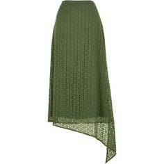 Tibi Antonina Eyelet Asymmetrical Skirt (1,455 ILS) ❤ liked on Polyvore featuring skirts, eyelet skirt, formal skirts, green asymmetrical skirt, zipper skirt and cotton midi skirt