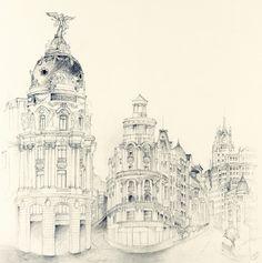 Edificio Metrópolis, cruce de Alcalá con Gran Vía, Madrid - Cruz Illustration