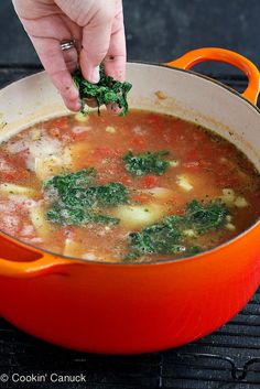 Chicken, Artichoke & Spinach Soup Recipe | cookincanuck.com #soup #chicken