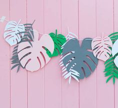 Pretty Leaf Garland Perfect decor for any Wedding, Party, Baby Shower or Bridal Shower. It also makes beautiful decor for your home, kids room or nursery. > Garland includes 12 Leaves in total (3 styles of leaves). > Colour way: Pink, Grey, White, Green (3 leaves of each colour). > The