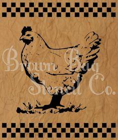Checkered Chicken Stencil  12x14  mylar by BrownBagStencilCo