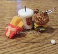 Mini Crochet Cheesburger Menu Earrings