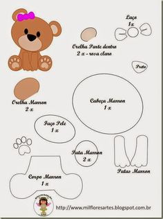 Risultati immagini per oso con nube molde fieltro Felt Patterns, Applique Patterns, Craft Patterns, Stuffed Toys Patterns, Baby Crafts, Felt Crafts, Diy And Crafts, Crafts For Kids, Felt Templates