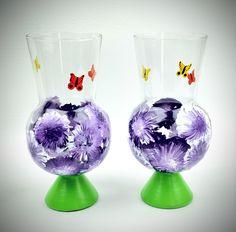 Hand painted drinking glass, hurricane glass, snifter, purple flower glass