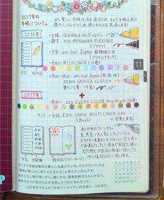 2017年の手帳について 使い方を見直します!そして使うペンも増やします! 誰得ですが、今まで絵日記を描いていた右側のページを中国語の勉強に使い、絵日記は最後のフリーページに移します。ページ数を気にせず、好きなように使えるので楽しみです。