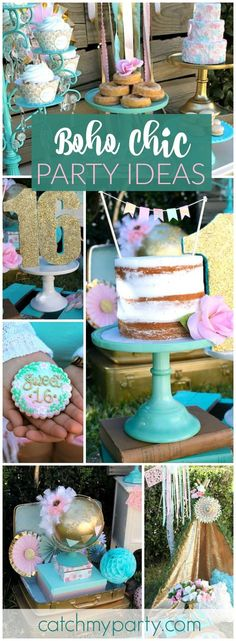 Such a gorgeous bohemian Sweet 16 birthday party! See more party ideas at http://CatchMyParty.com!