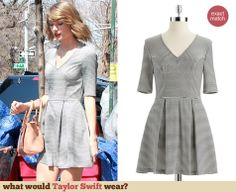 Taylor Swift's Striped v-neck skater dress out in New York. Outfit Details: http://wwtaylorw.com/3007