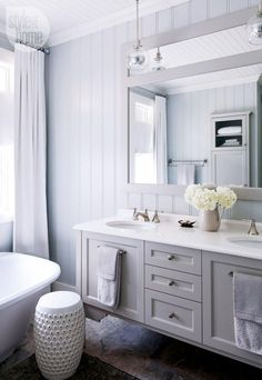 Bathroom design: A sophisticated cottage ensuite with a soft shade of grey paint, tailored drapery and glass pendant lights {PHOTO: Robin Stubbert}