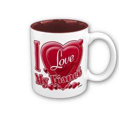 I Love My Fiancé red - heart Coffee Mug by ZuzusFunHouse