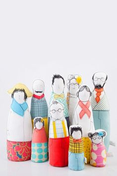 Custom-made soft sculptures are a fresh take on the traditional family portrait. #etsyfind #custom