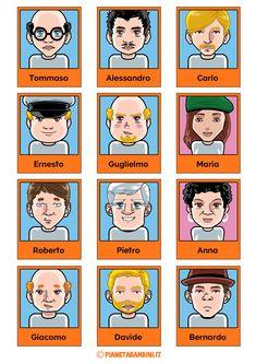 """Tutte le schede dei personaggi del gioco da tavola """"Indovina Chi?"""" pronte da stampare gratis per poter giocare anche se non si possiede il gioco"""