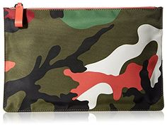 VALENTINO Men's Large Flat Zip-Top Nylon Pouch, Green Camouflage/Grey Blue/Red…