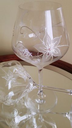 CRYSTAL SET of 2 Hand Painted wine glass by PaintedGlassBiliana, $47.40