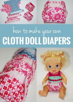 How to make cloth diapers for a doll. My little girls would like this. Here is a tutorial for how to make cloth diapers for a baby doll. They fit Baby Alive, Cabbage Patch baby doll and other small stuffed animals too. Sewing Doll Clothes, Baby Doll Clothes, Sewing Dolls, Doll Clothes Patterns, Doll Patterns, Dolls Dolls, Clothing Patterns, Muñeca Baby Alive, Baby Alive Dolls