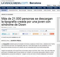 LAVANGUARDIA.COM   2-10-12   http://www.lavanguardia.com/local/barcelona/20121002/54351497480/mas-de-21-000-personas-se-descargan-la-tipografia-creada-por-una-joven-con-sindrome-de-down.html    (Montserrat)