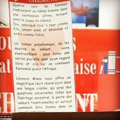 Crépuscule du tourment de Léonora Miano @editionsgrasset  Coup de cœur de @libcheminant Vannes #rentreelitteraire2016 #lespetitsmotsdeslibraires #book #livre