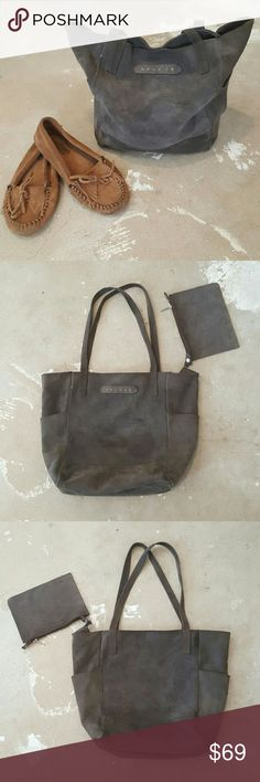 Genuine Suede Leather Sundance Hobo Tote Bag I am selling a boho chic, genuine leather handbag.  A big and slouchy vibe, in the softest suede leather ever!   I adore this gray color it is so verst3 and easy to wear with everything.  The matching, snap in pouch is included.  This bag has only gotten better with, softer and more unique looking.  Made im Italy by Sundance, make this your new fave!! Minimal signs of wear of course with suede you can never be sure it's not just the leather grain…