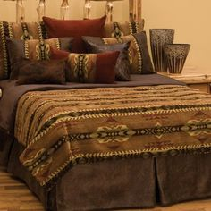 DELUXE Stampede Southwest Bedding Ensemble Set - The Stampede Southwestern Deluxe bed ensemble set with its beautifully coordinated Southwestern patterns offers overtones of golds and browns and comes with 1 duvet, 2 shams, bed skirt, 3 euro-shams. Southwestern Bedding, Southwest Decor, Southwestern Style, Southwestern Decorating, Luxury Duvet Covers, Luxury Bedding Sets, Bed Sets, Duvet Sets, Wood River
