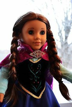 """Anna's Dress in Frozen Outfit Clothes for 18"""" American Girl Journey Girls Lumi 