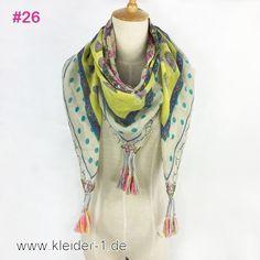 Damen Schal 110x100cm in Rosa, Gelb und Grau