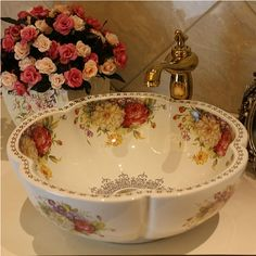 Cheap bathroom mirro, Buy Quality bathroom sink vanity combo directly from China bathroom sink cabinet Suppliers: Europe Style Handmade Flower Shape Countertop Ceramic Bathroom Basin Bathroom Sink Estilo Shabby Chic, Shabby Chic Style, Shabby Chic Decor, Shabby Vintage, Vintage Decor, Bathroom Basin, Basin Sink, Washroom, Europe Fashion