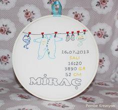 Pembe Kreasyon, baby embroidery , isimli bebekler için pano, bebek doğum panosu nakışlı