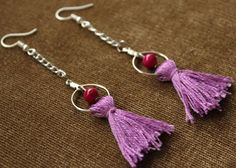 Bohemian Long Fringe Tassel Thread Earrings Fuchsia &Purple Drop/Dangle Handmade #Handmade #DropDangle