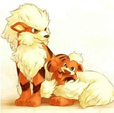 Arcanine and Growlithe, the cutest duo I've ever seen! If not for Flareon, these guys would be by choice for Fire <3